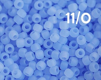 Matte Blue Toho Seed beads size 11/0 Ceylon Frosted Glacier N 146F japanese glass beads - 10g - S203