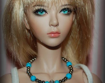 Silvertone Turquoise Beaded Necklace for 1/4 Scale Fashion Dolls, Ellowyne, BJD