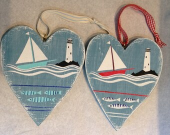 Wooden heart, lighthouse, boats, fish, waves, coastal art, collectibles, christening gift, nursery art, made in Cornwall