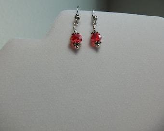 Red rondelle earrings