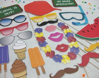 PDF -  Summer / End of School / End of Year photo booth props/decorations/craft - printable DIY