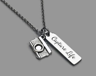 Camera Charm Necklace, Camera Necklace, Capture Life, Photographer Charm Necklace, Photographer Jewelry, Stainless Steel