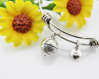 Basketball Bangle, Basketball Bracelet, Silver Basketball Charm, Basketball Team Gift, Basketball Mom Gift, Sport Charm, Personalized Gift