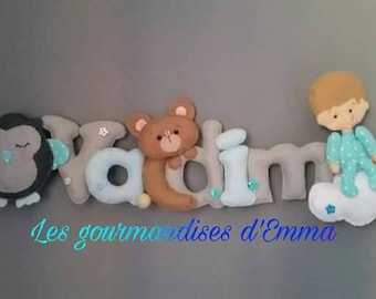Garland name Teddy bear and baby boy theme