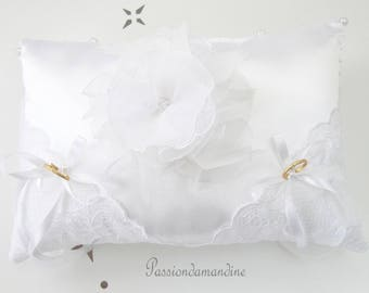 White satin with flower lace ring bearer pillow beads and ribbons