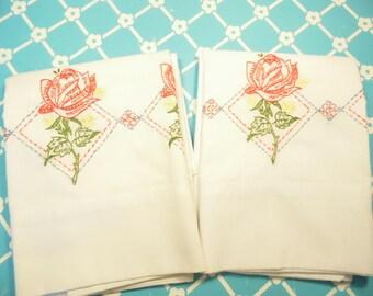 Vintage Pair Embroidered Pillowcases - Muslin - Standard Case - No Iron - Thomaston - American Mood