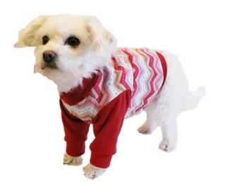 Red Chevron Dog Shirt-Dog Clothes-Dog Shirts-Dog Sweater-Dog Clothing-Dog Apparel-Pet Clothes-Shirts for Dogs-Dog Sweatshirts