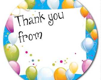 Thank You - 60mm - party bag stickers, envelope seals - space to write name - blue background