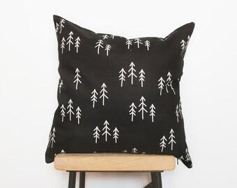 Black nordic decor cushion with geometric tree pattern, woodland nursery decor, home decor, handmade cushion, scandinavian minimalist design