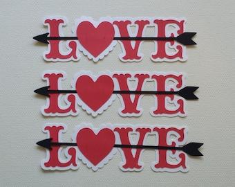 Love with Arrow Die Cut Set of 3