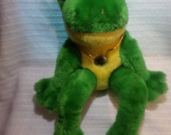 Vintage Lily Pad Frog plush Mighty Star necklace large big eyes fur eyelashes Green Yellow pink 15""