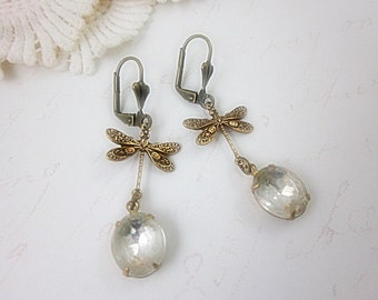 Vintage Style Brass Dragonfly with glass jewel Leverback Earrings.  Gift for her