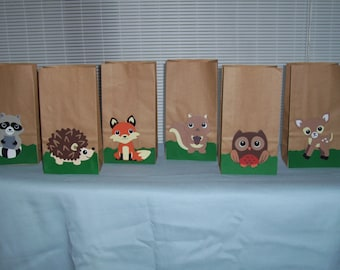 Baby shower woodland animal favor bags, Birthday favor bags