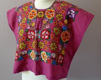 """Mexican Tehuana huipil embroidered soft fuschia rose antique gancho floral boho Frida Kahlo - open sided 22"""" W x 18"""" L Small"""