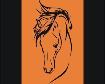 Horse head vinyl wall art sticker 60cm tall - #1 car horse box motor home trailer- WS1007