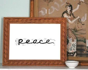 "peace linoleum block print - 9"" x 12"" wall art"