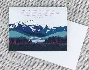 Alaska Knik Mountain Wedding Thank You Folded Note Card with John Muir quote - A2 Broadfold Thank You Card with A2 Envelope