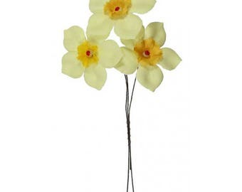 3 Daffodils Czech Republic Millinery Fabric Flowers Hand Made Yellow NFC041Y