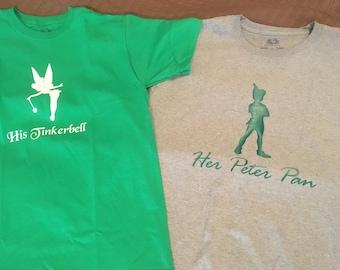Her Peter Pan OR His Tinkerbell Shirt