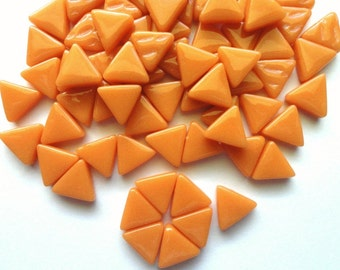 MINI Orange Triangle Shaped Mosaic Tiles 10mm//Recycled Glass Tiles//Mosaic Supplies//Jewelry Supplies//Mosaics