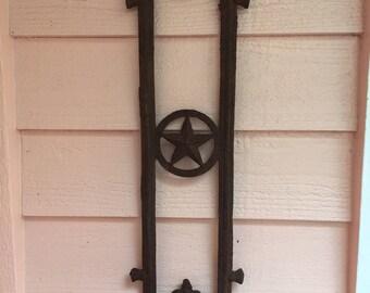 IRON POT HOLDER, Texas Star, Vintage Garden, Rustic Garden,Garden Pentagram, Antique Garden, Garden Decor, Haunted at A Vintage Revolution