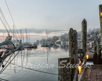 """Camden, Maine Harbor ships at dawn:  """"Not Even a Mouse"""""""