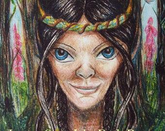 Woodland Fae Greeting Card, Faery Card, Pagan Greeting Card, Blank Card, Birthday Card, Faery Queen Card, Mab, Printed Art Card, Eco Card