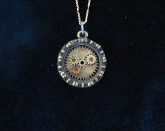 Necklace: Steampunk Gears Circular Pendant