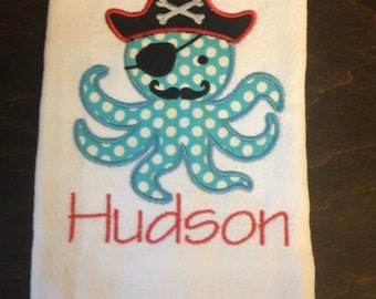 Pirate Octopus Burp Cloth
