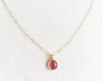 14k Solid Gold Pink Tourmaline Necklace, 18k Pink Tourmaline Necklace, 14k Gold Necklace Dainty, 18k Gold Necklace 14kt Gold Necklace 14KN31