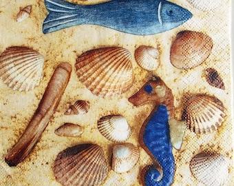 Shells, fish, seahorse #M022 NAPKIN