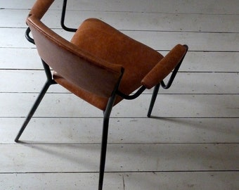 1950s French Leather Desk Chair / Office Chair