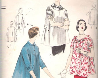 """Vintage 1955 Vogue 8555 Maternity Tops & Blouse Sewing Pattern Size 14 Bust 32"""" UNUSED"""