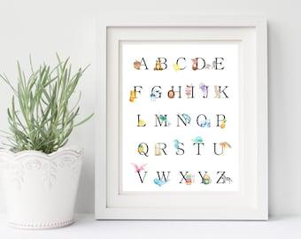 ABC Wall Art, PRINTABLE, Baby Nursery Art, Kids Room Art, Nursery Decor, Nursery Artwork, Playroom decor, 8x10