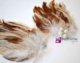 Multi Color Cream & Tan Hackle Feather Pad with Pearls - Wedding Supplies - Roose Feathers - Blossom Supplies Wholesale - DIY Headband Clip