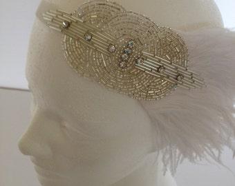 Silver 1920s Headband, rhinestone Wedding fascinator, silver beaded ostrich feathers headpiece Great Gatsby