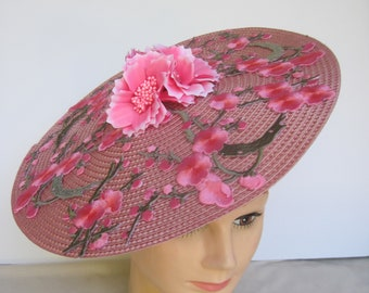 """Intricate Summer Passionate Pink Floral 12"""" Diameter Round Fascinator Base with Eye Catching Appeal"""