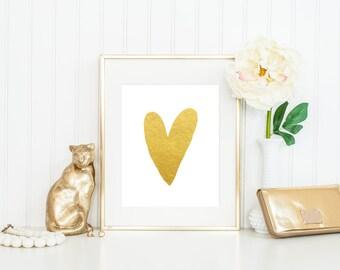 ACTUAL FOIL Print / Gold Heart Print / Gold Foil Heart Print / Heart Decor / Gold Heart Poster / Heart Art / Love Print / Fashion Print