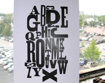 Letterpress Wood Type Alphabet Poster