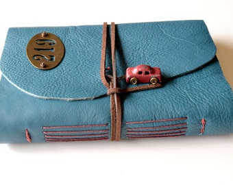 Teal Leather Sketchbook, Leather Sketchbook with Pickup Truck