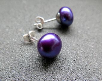 purple pearl earrings. indigo jewelry. sterling silver posts. splurge.