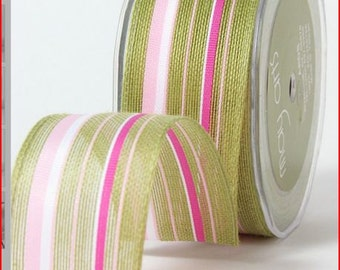 CLEARANCE - Jute - Ogranic Cotton Blend Ribbon with Stripes - Pink , Green, & White