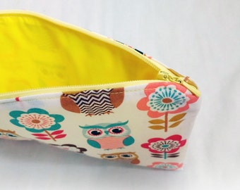Peachy owls with yellow YKK zip and lining zipper pouch / pencil case / gadget sack / make up bag