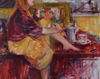 Figurative Painting, Red Painting, Coffee Break