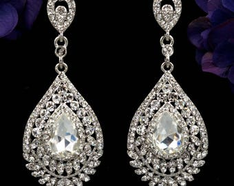 "Dangle Crystal Chandelier Silver Wedding Gauges Plugs earrings 8mm 0g 10mm 00g 7/16"" 11mm 1/2"" 12mm 9/16"" 14mm 5/8"" 16mm 11/16"" 19mm 3/4"""