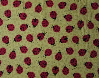 Ladybugs Lady Swilrs Red Yellow Cotton Fabric Fat Quarter or Custom Listing