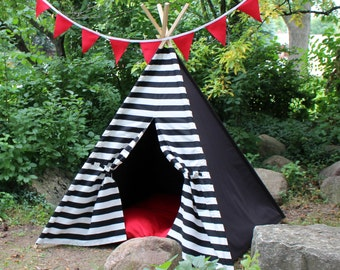 READY TO SHIP Kids Teepee Tent, Two Sizes, Can Include Window, Play Tent Tee Pee, Poles Included