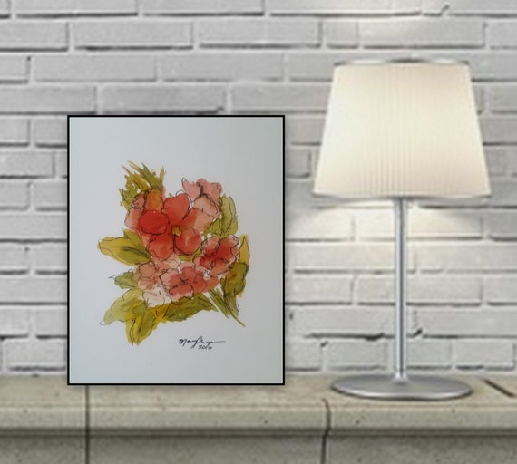 pink/ red ink flower painting original art painting on  paper 8x 10 9x 11