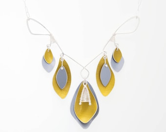 Sunbeam Shadows Statement Necklace – Yellow and Grey Anodized Aluminum with Sterling Silver Wire Work