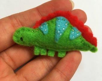 Hand embroidered felt brooch - Rupert the Stegosaurus